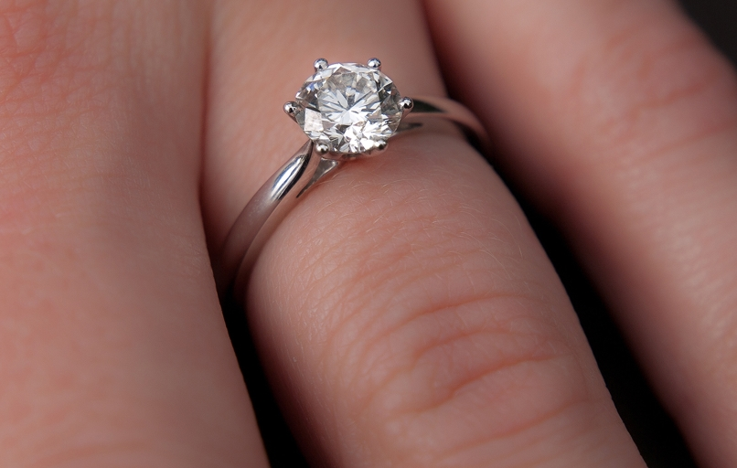 Photo of a round cut solitaire cubic zirconia engagement ring