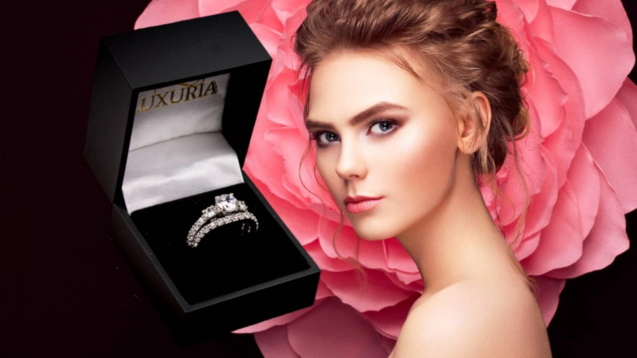 Luxuria twin band white diamond engagement ring
