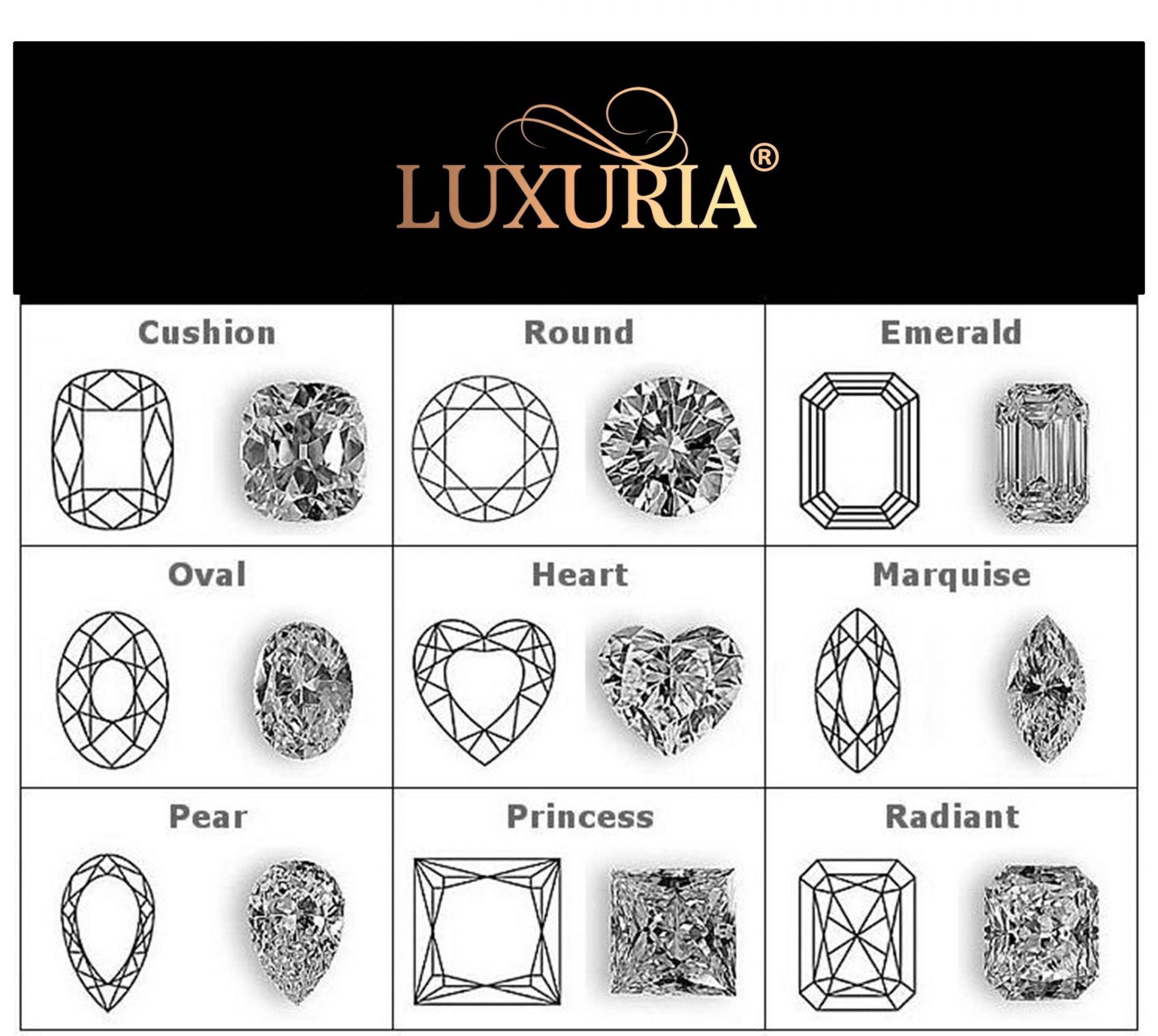 Luxuria jewellery - Diamond shapes for Sterling Silver Engagement ring
