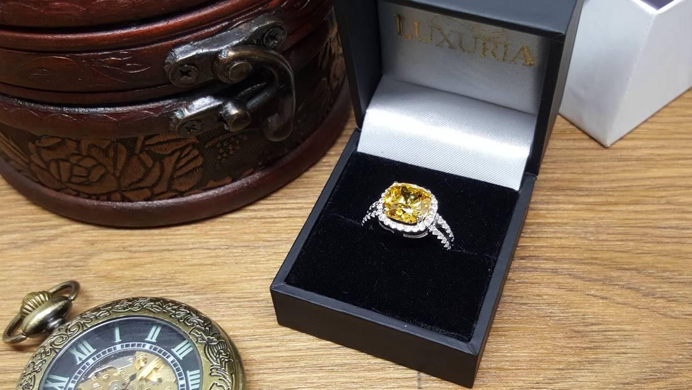 Luxuria jewelry ACCAREZZATO fancy vivid yellow diamond simulant engagement ring