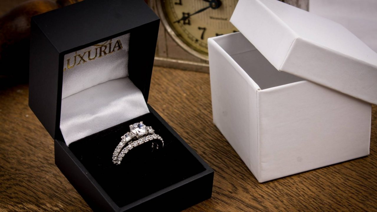 Luxuria Jewellery Brand - PROMEISA dual band diamond simulant engagement ring