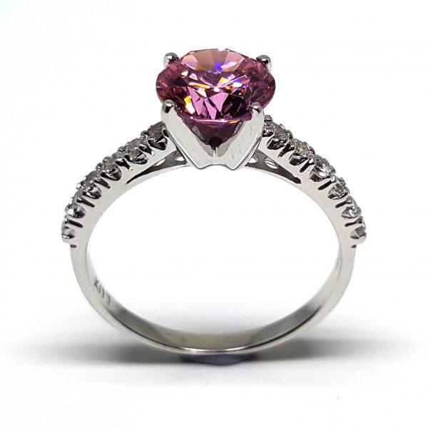 LUXR150-1 Luxuria fancy vivid pink diamond simulant engagement ring