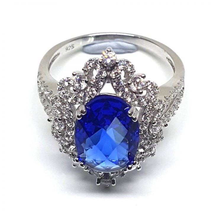 LUXR145-4 Luxuria statement rings blue sapphire color