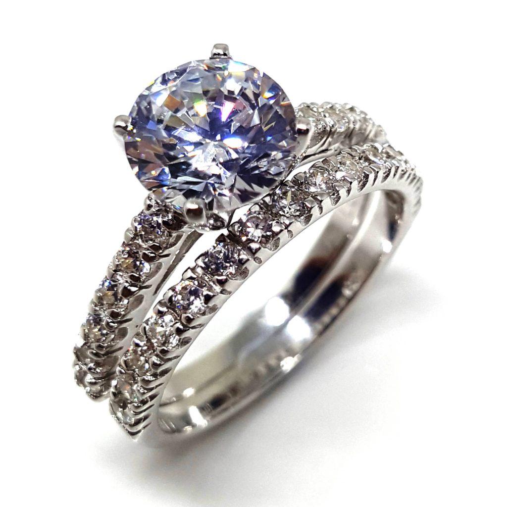 LUXR153-1 Luxuria white diamond simulant engagement ring