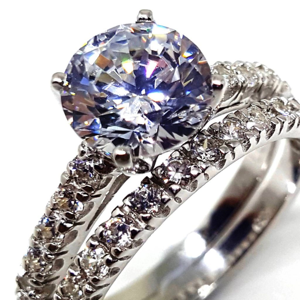 LUXR153-2 Luxuria dual band CZ engagement ring