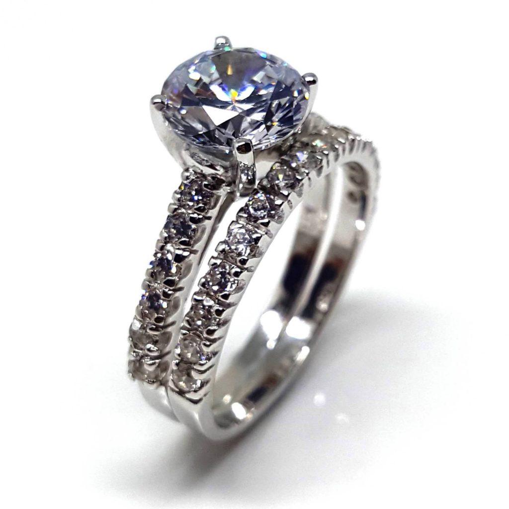 LUXR153-3 Luxuria white diamond cubic zirconia engagement rings