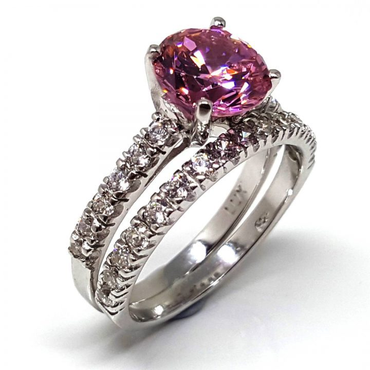 LUXR154-1 Luxuria fancy vivid pink diamond simulant engagement ring