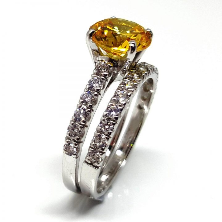 LUXR155-1 Luxuria canary yellow diamond simulant engagement ring
