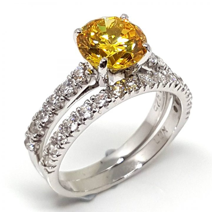 LUXR155-3 Luxuria yellow diamond cubic zirconia engagement rings