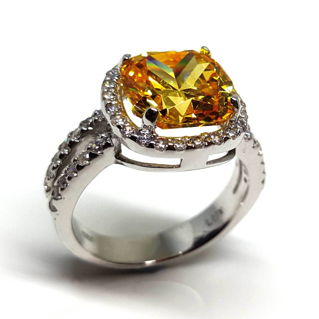 LUXR158-3 Luxuria yellow cubic zirconia engagement rings