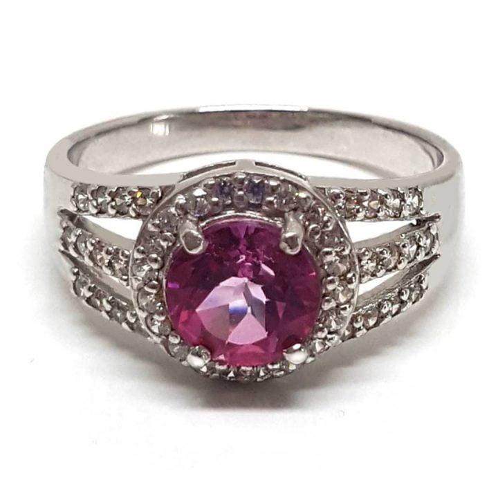 Fake diamond ring with pink topaz gemstone