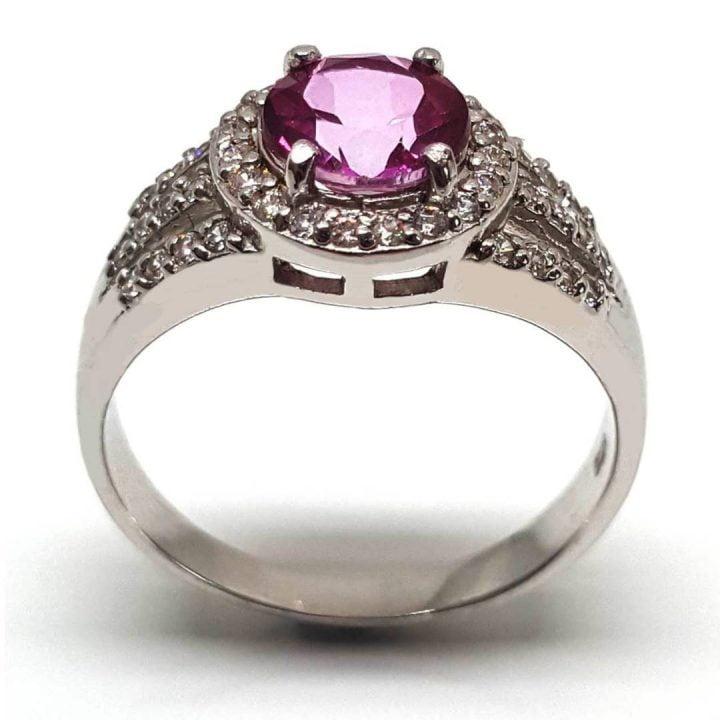 Fake engagement ring with pink topaz gemstone