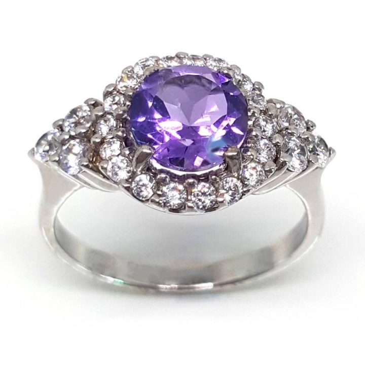 LUXR118 Fake diamond rings with amethyst central gemstone