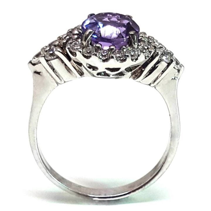 LUXR118 Fake engagement rings with round purple amethyst gemstone