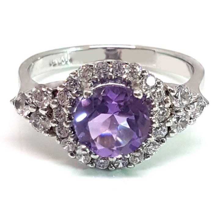 LUXR118 Luxuria February birthstone ring with natural amethyst gemstone & diamond simulant halo