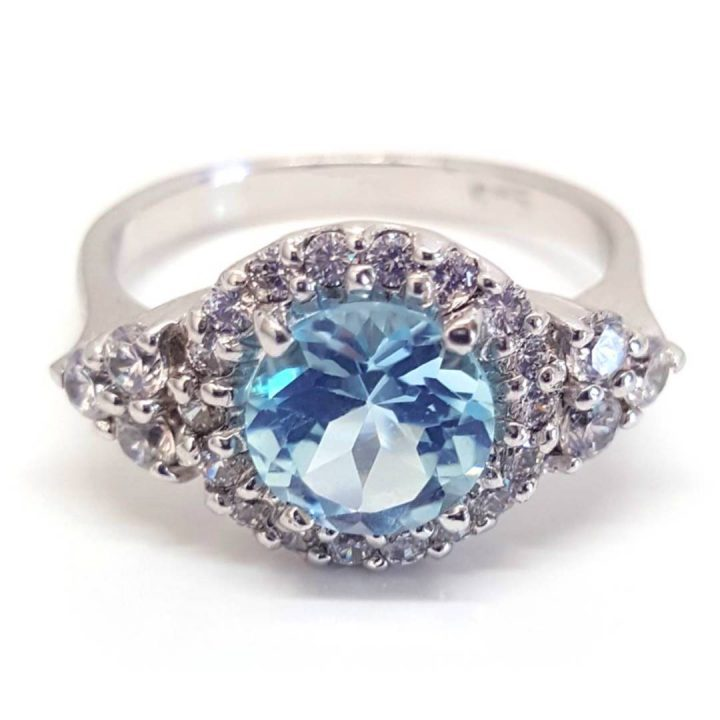LUXR124 Luxuria December birthstone ring natural blue topaz gemstone with diamond simulant halo