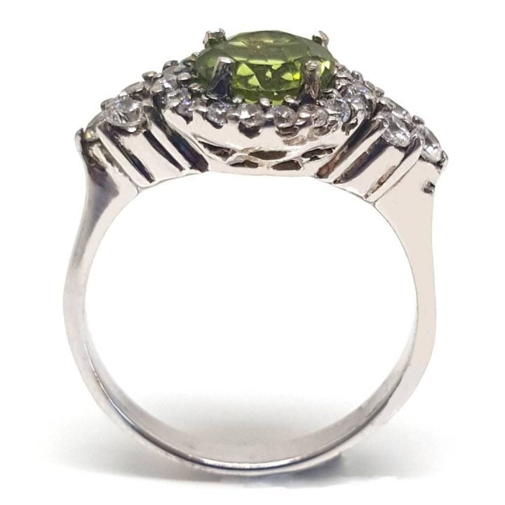 LUXR125 Fake Diamond ring with peridot august birthstone gem