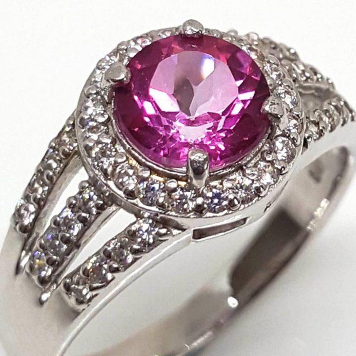 Luxuria CZ engagement ring round cut pink topaz