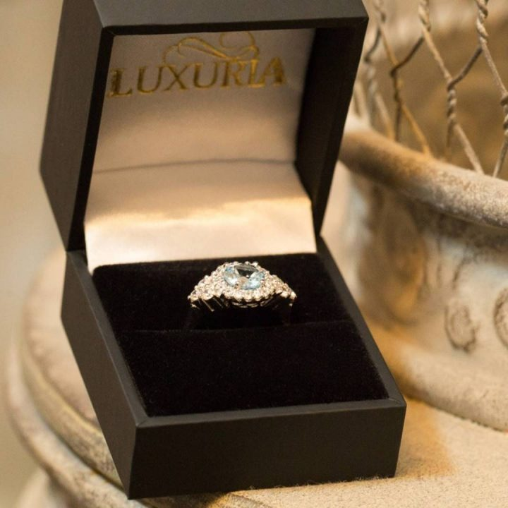 Luxuria CZ engagement ring with deluxe leatherette box