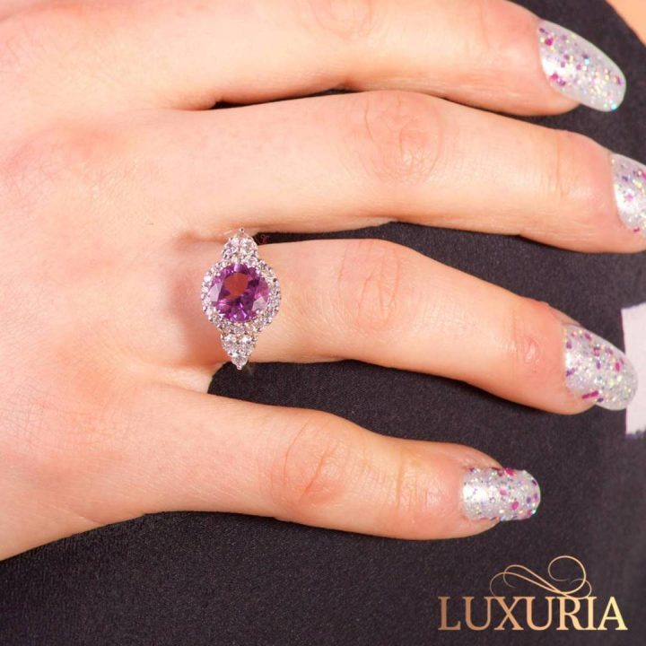 Luxuria high quality faux diamond ring with amethyst gemstone LUXR118