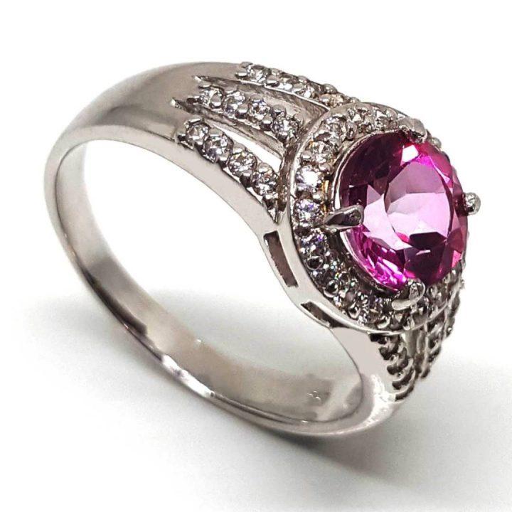 Luxuria pink topaz gemstone engagement ring