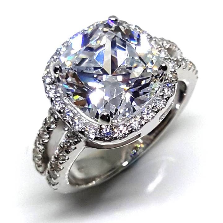 LUXR156 Large 4.0 ct. white diamond simulant engagement ring with halo. Fake rings that look real