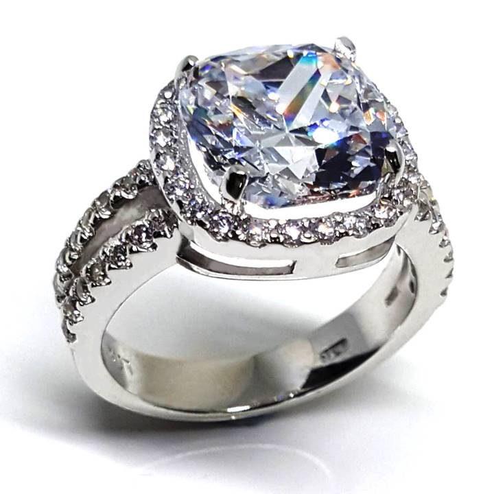 LUXR156 square shape cushion cut white diamond. Best fake diamond rings