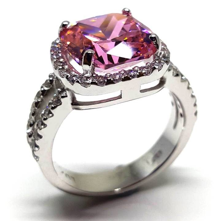 LUXR157 4 ct. Pink diamond simulant with halo. Fake rings that look real