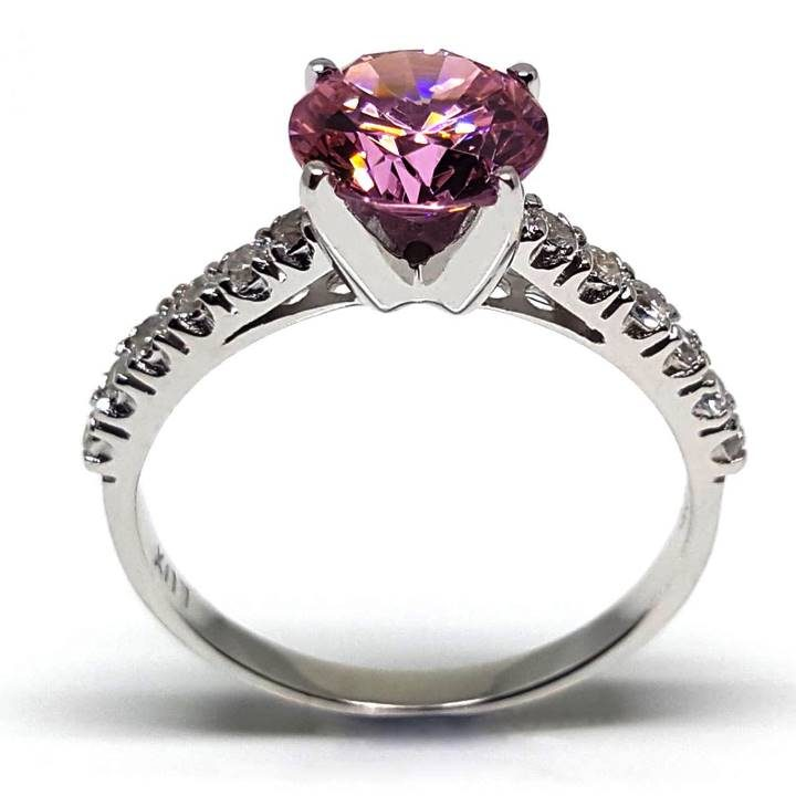 Luxuria 2.04ct round cut pink diamond simulant - Fake rings that look real - Copy