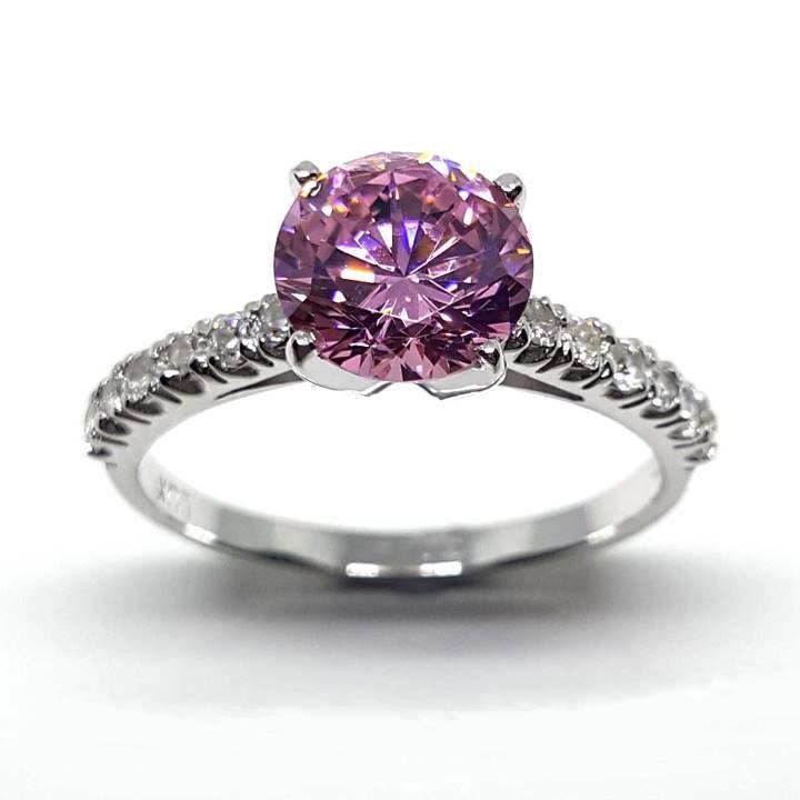 Luxuria Best fake diamond rings - pink diamond simulant solitiare