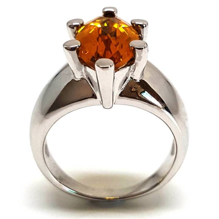 Luxuria A large marquise shape yellow color citrine gem set in a chunky 925 silver band is best suited to larger fingers