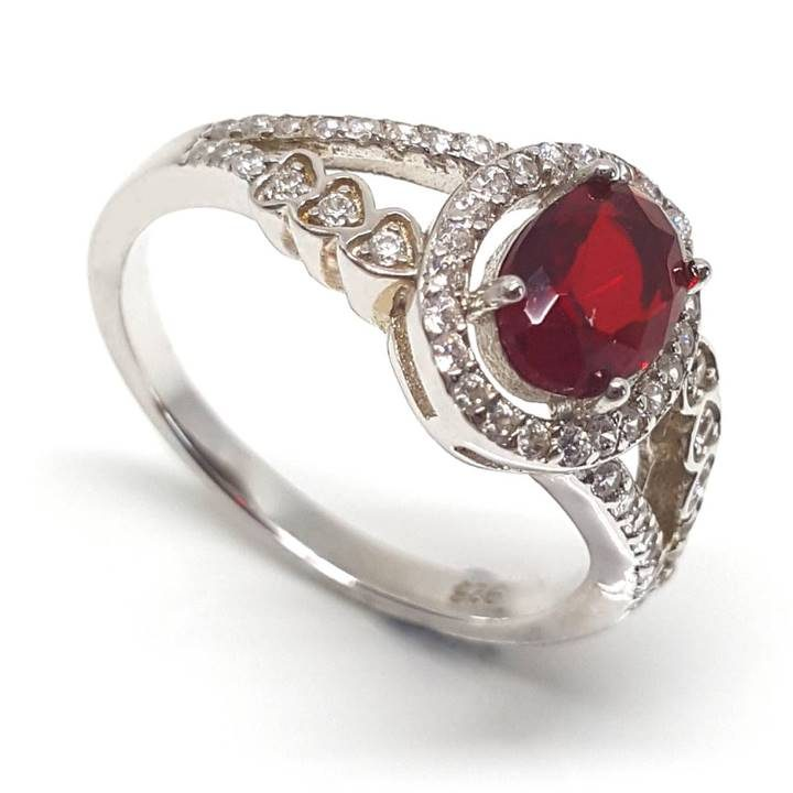 Luxuria Red ruby colour oval shaped split shank dress ring