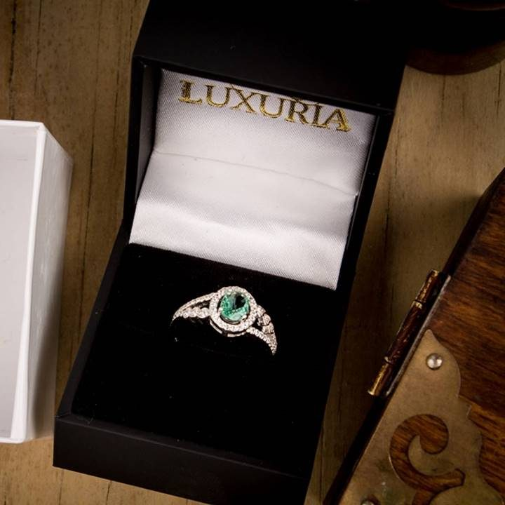 Luxuria blue cz engagement rings in deluxe leatherette gift box