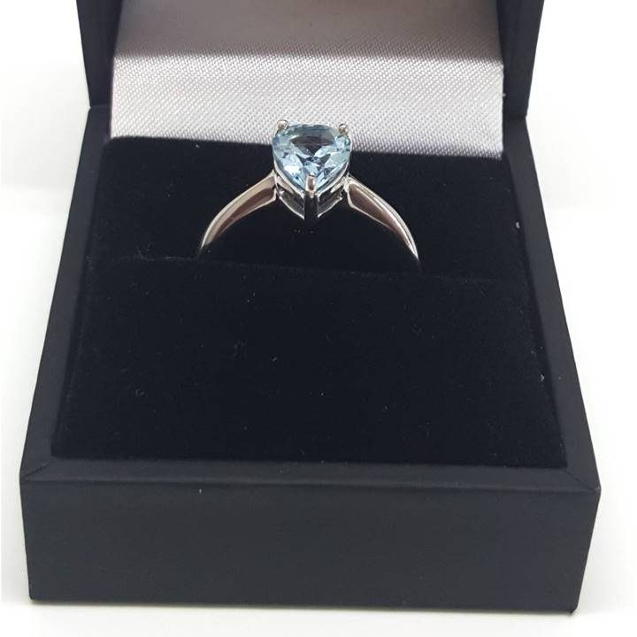 Luxuria blue topaz gem and silver ring with deluxe leatherette gift box