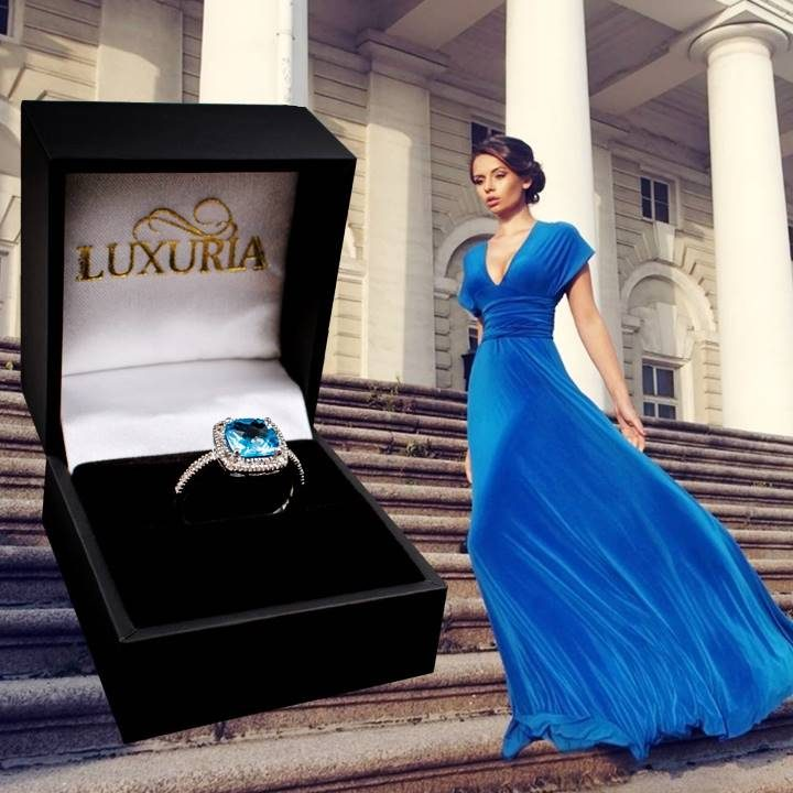 Luxuria blue topaz ring pairs beautifully with an Azure, Klein or light blue dress or gown