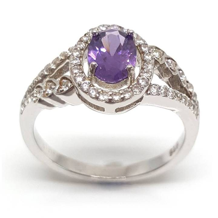 Luxuria cloudy violet color split shank & halo dress ring