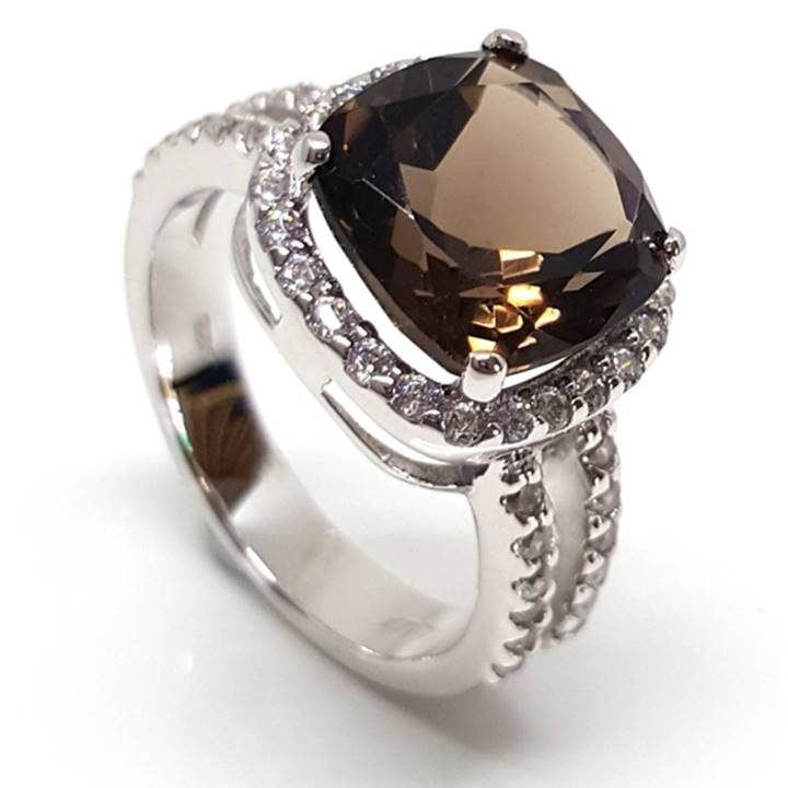 Luxuria cushion cut brown smoky quartz gemstone with halo dress or engagement ring