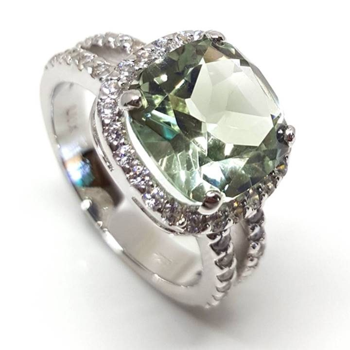 Luxuria cushion cut green quartz Prasiolite gemstone with halo dress or engagement ring