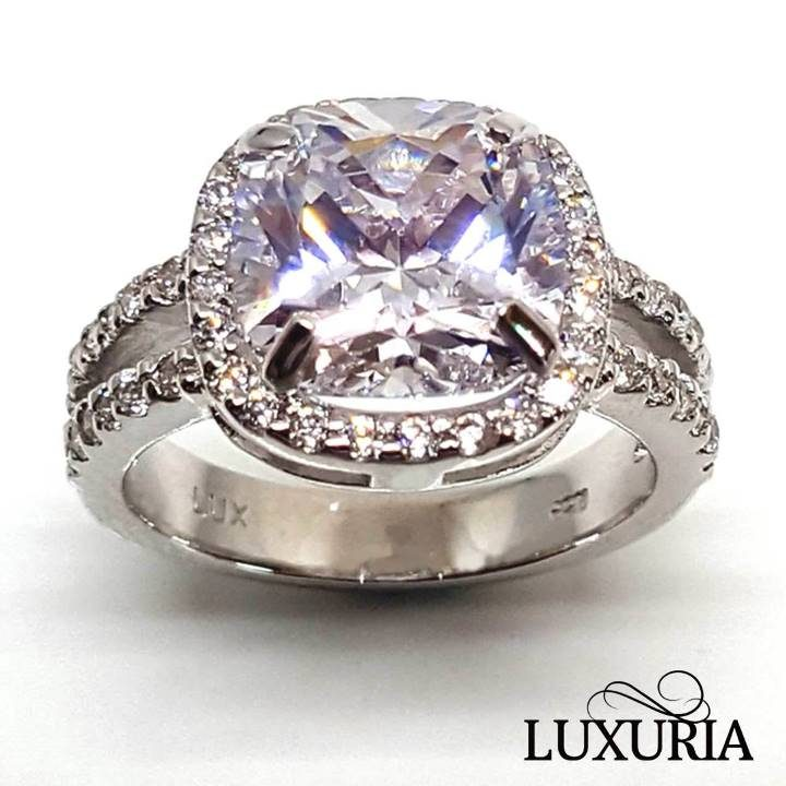 Luxuria cushion cut halo faux engagement rings LUXR156