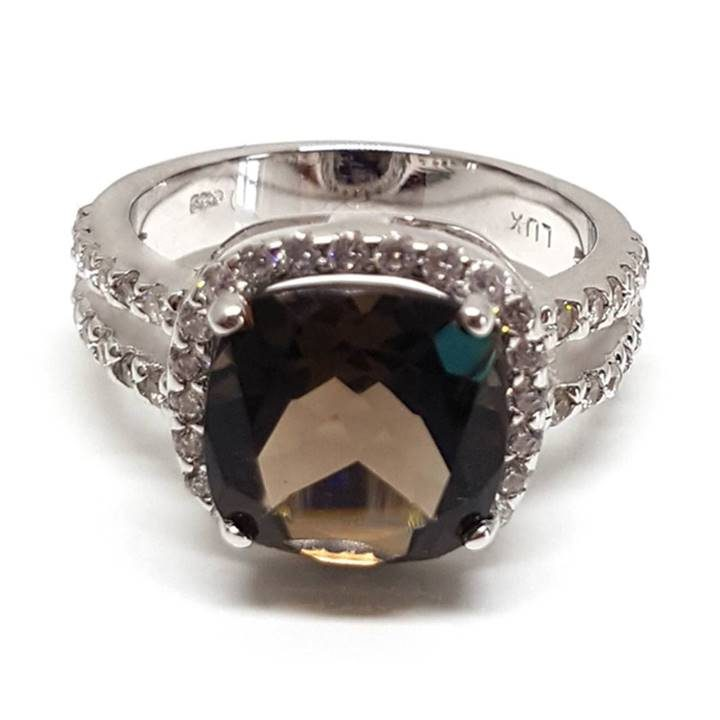 Luxuria cushion cut smoky quartz diamond engagement ring