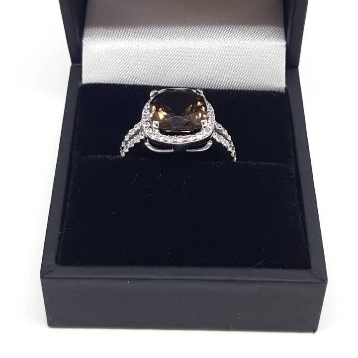 Luxuria diamond simulant ring with smoky quartz gem and high quality ring box