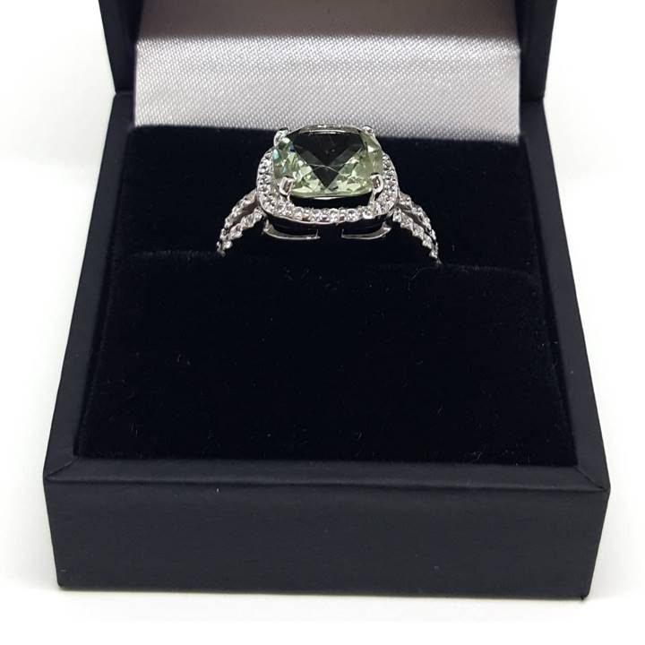 Luxuria diamond simulant rings with green amethyst gem and high quality ring box