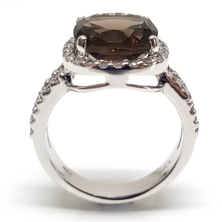 Luxuria - fake wedding rings that look real with smoky quartz gem