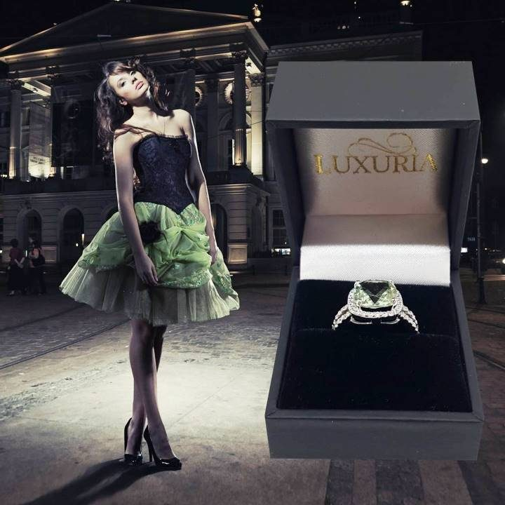 Luxuria imitation diamond halo ring with praziolite gemstone