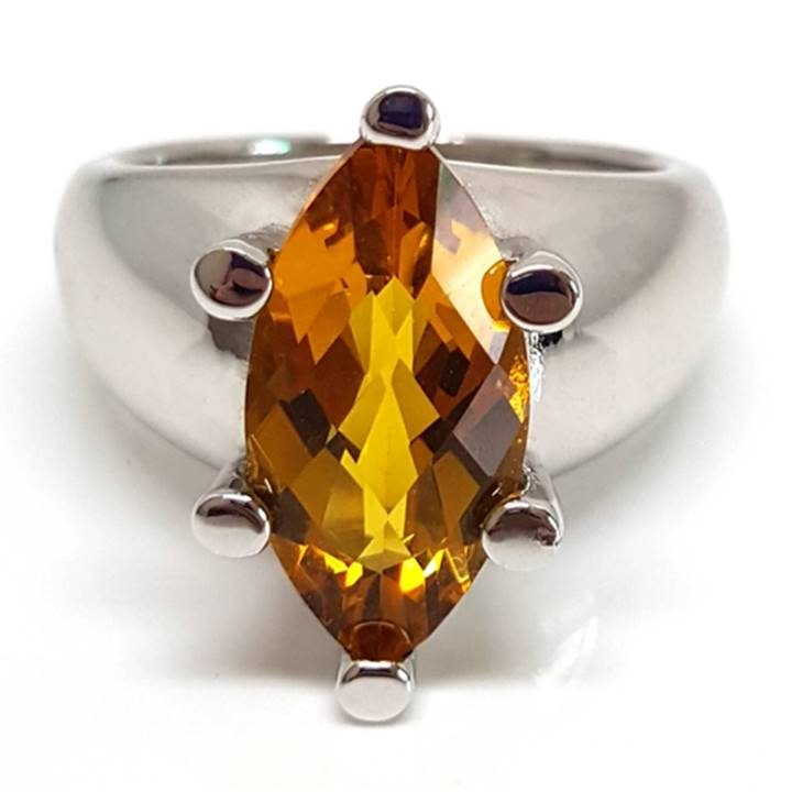 Luxuria large size marquise citrine gem solitaire dress or cocktail ring