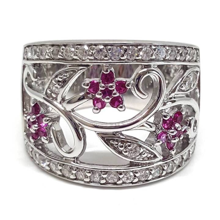 Luxuria cocktail ring. Pink cz and silver with deluxe ring box