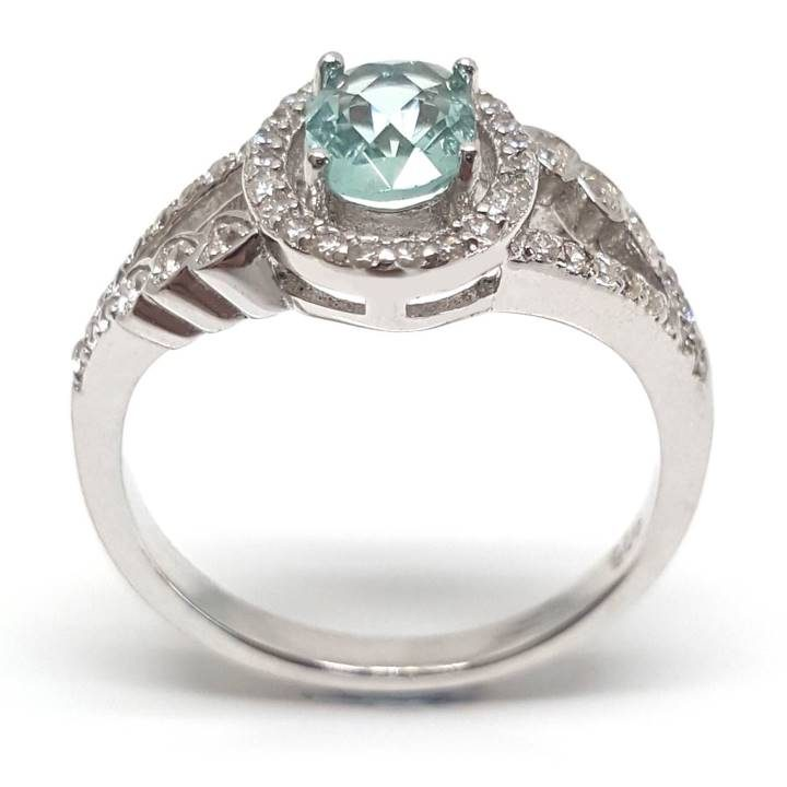 Luxuria pale turquoise coloured cz engagement ring