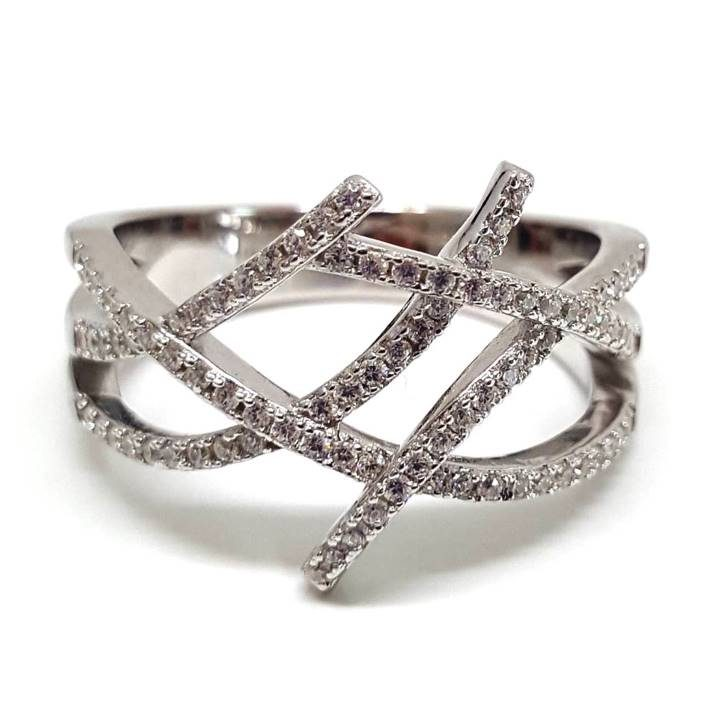 Luxuria pave set round cut white diamond simulant stone set in woven strands of 925 sterling silver