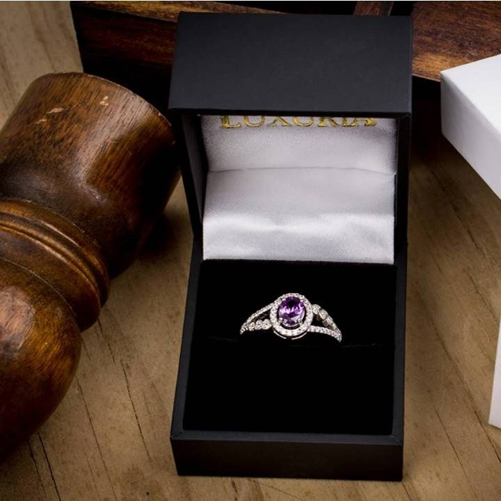 Luxuria purple amethyst colour oval shaped split shank dress ring