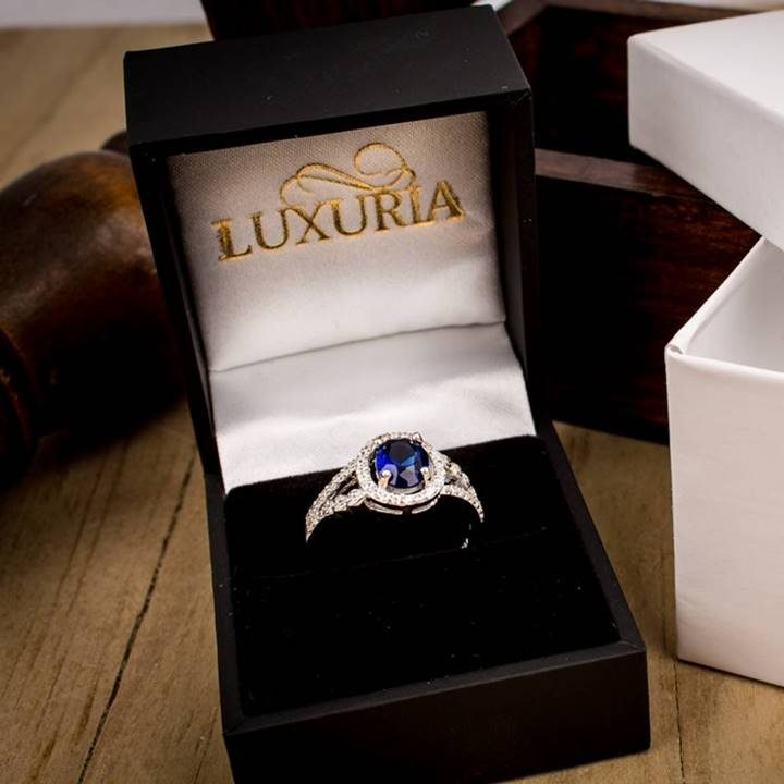 Luxuria sapphire blue cz engagement rings in deluxe leatherette gift box